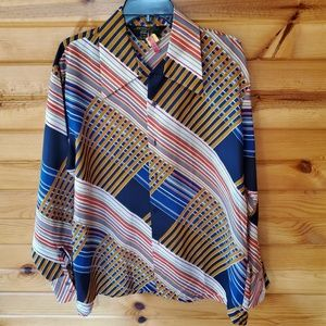 1970s JCPenney Multi-Color, Polyester, Button Down